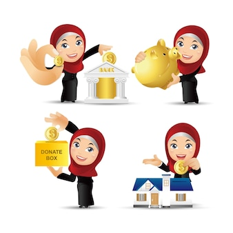 Business  investment concept  arab business people set