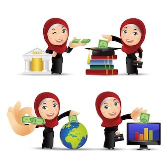 비즈니스 투자 개념 아랍 비즈니스 사람들이 설정