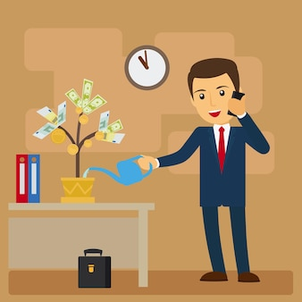 Business investment concept. businessman watering tree of money   illustration
