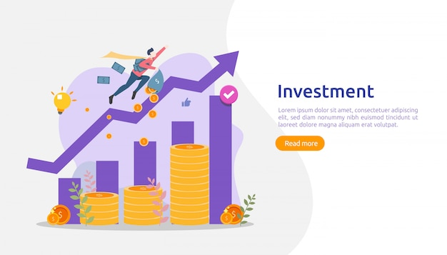 Business investment concept. dollar pile coin, people character, money object. graphic chart increase. financial growth rising up to success. flat design landing page template illustration