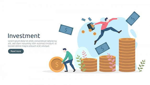 Business investment concept. dollar pile coin, tiny people, money. modern landing page template