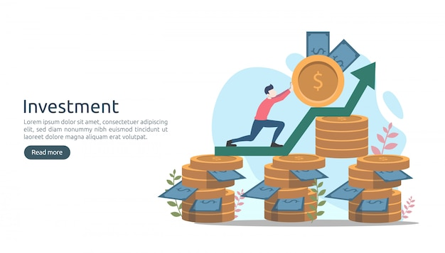 Business investment concept. dollar pile coin, tiny people, money.
