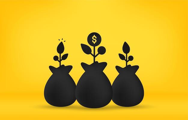 Бизнес-концепция инвестиций, денежный мешок с растениями на желтом фоне