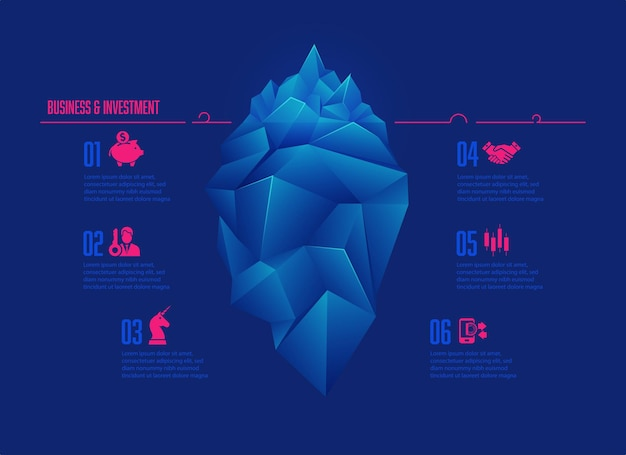 Business and investment concept presented with infographics, graphic of low poly iceberg with business icons