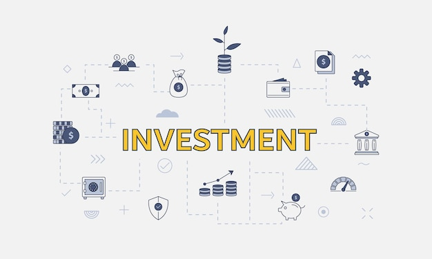 Business investment concept with icon set with big word or text on center