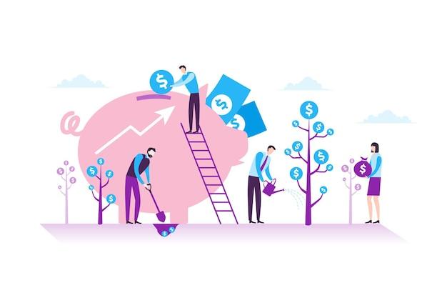 モダンなフラットデザインにおける事業投資、財務、チームワークのコンセプト