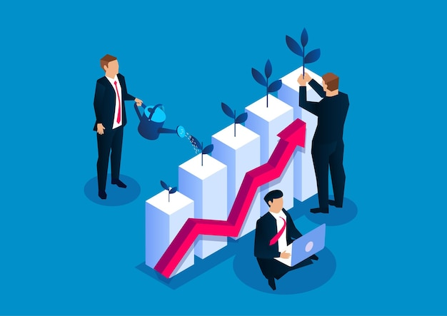 Business investment income growth grow your business stock illustration