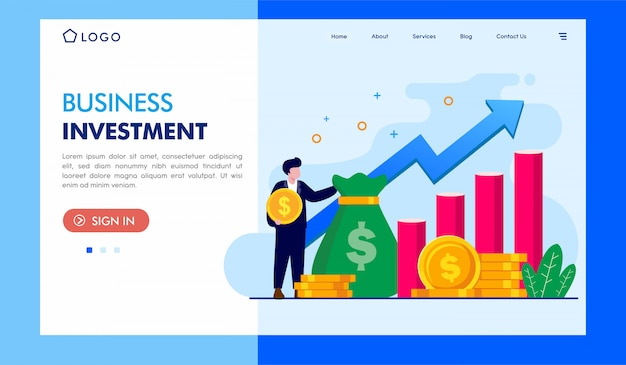 Business investment landing page illustration template