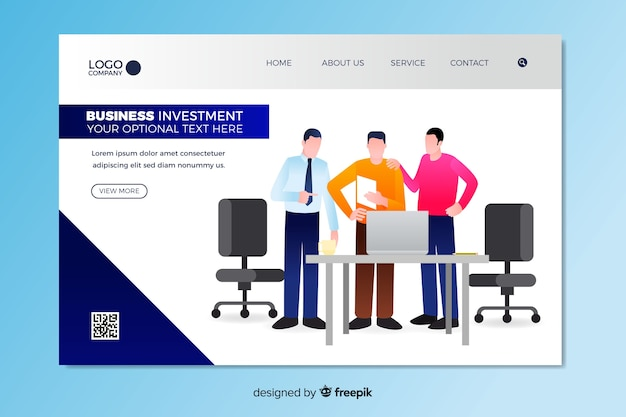 Business investment landing page template