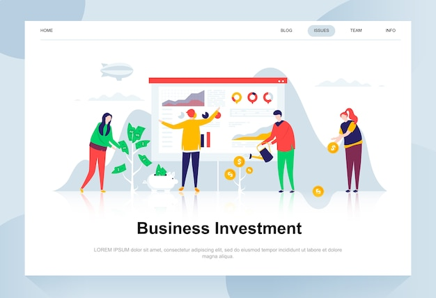 Business investment modern flat design concept.