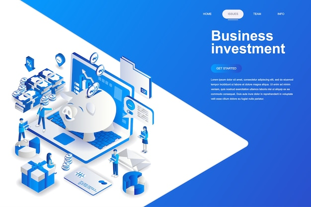 Business investment modern flat design isometric concept.