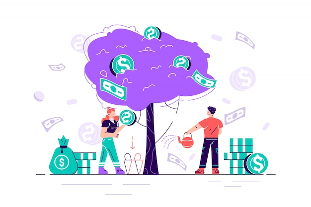 Business investment profit flat  illustration. revenue and income metaphor. businessman and businesswoman characters picking cash from money tree. investors strategy, funding concept.flat