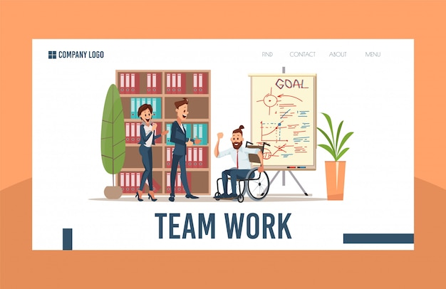 Business investment project flat webpage