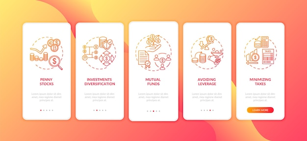 Business investment tips onboarding mobile app page screen with concepts