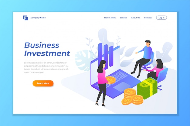 Business investment web banner background