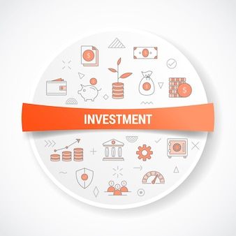 Business investment with icon concept with round or circle shape