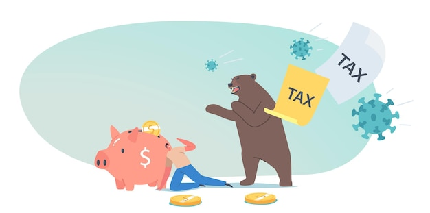 Business investor character run away from pathogen cells, tax and bear claws. stock market at covid-19 virus pandemic, panic sell due to novel coronavirus epidemic. cartoon people vector illustration