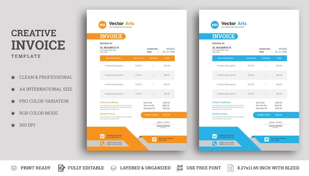 Business invoice design
