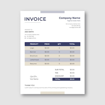 Business invoice template design