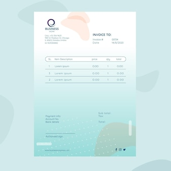 Business invoice template with logo