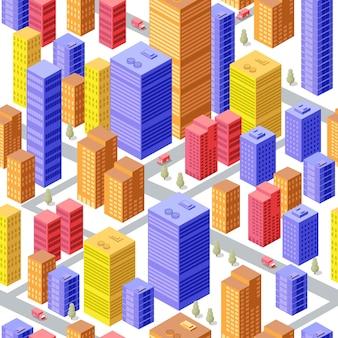 多くの異なる家、オフィス、高層ビル、スーパーマーケット、交通量の多い通りがあるビジネスアイソメトリック都市。シームレスパターン