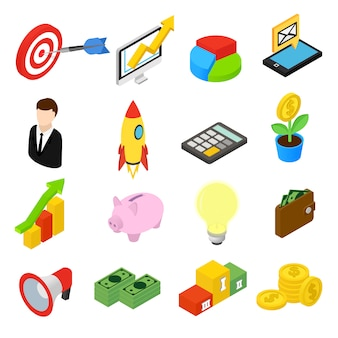 Business isometric icons isolated on white background