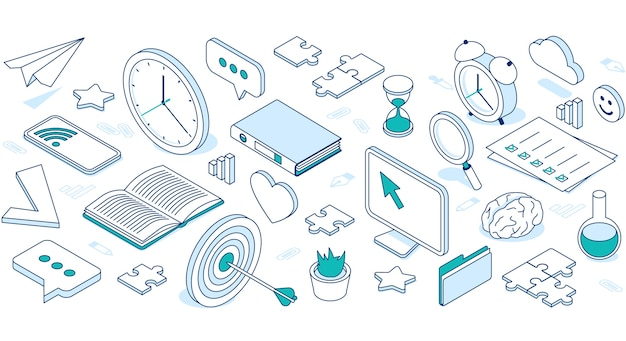 Icone isometriche di affari con cloud, computer, telefono e orologio.