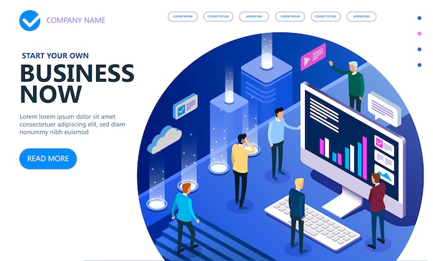 Business isometric people working together and developing a successful business strategy