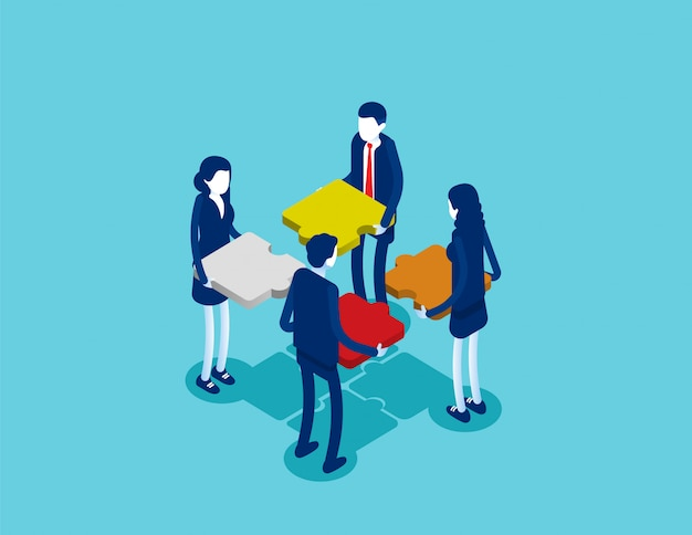 Business isometric teamwork