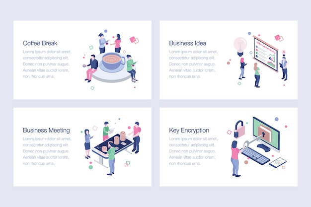 Business isometric vector illustrations collection