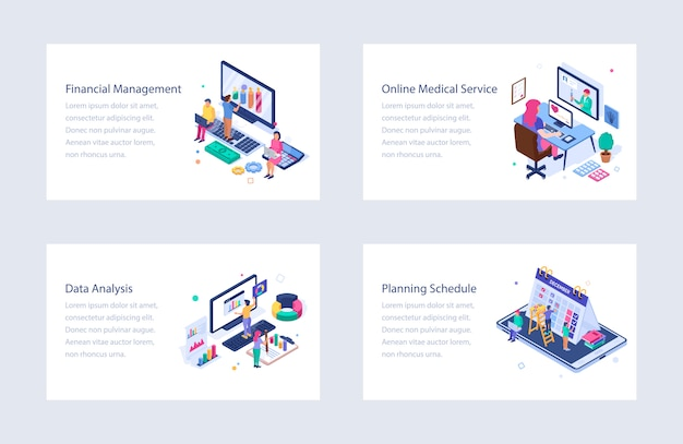 Business isometric vector illustrations pack