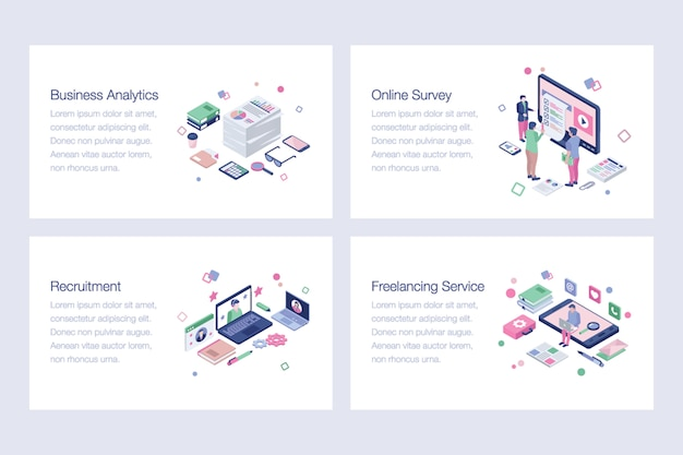 Business isometric vector illustrations set
