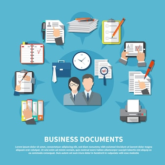 Business items flyer with elements of work tools and place for text vector illustration