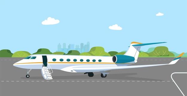 승객 문이 열려 있고 이륙 필드에 램프가있는 비즈니스 제트기. 플랫 스타일 그림.