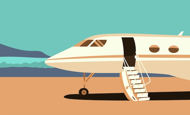 Business jet with an open passenger door and a ramp on the take-off field.