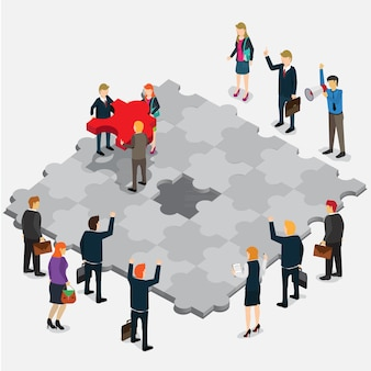 Business jigsaw puzzle isometric