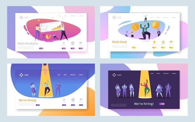 비즈니스 채용 모집 열심히 방문 페이지 세트. 채용 선택 인터뷰. barbell 웹 사이트 또는 웹 페이지가있는 하드 투자 진행 캐릭터. 플랫 만화 벡터 일러스트 레이션