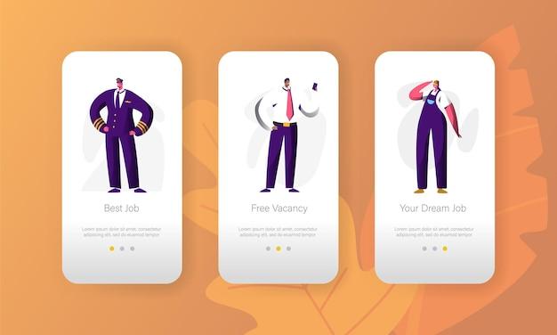 비즈니스 직업 공석 직업 기회 캐릭터 모바일 앱 페이지 온보드 화면 세트.