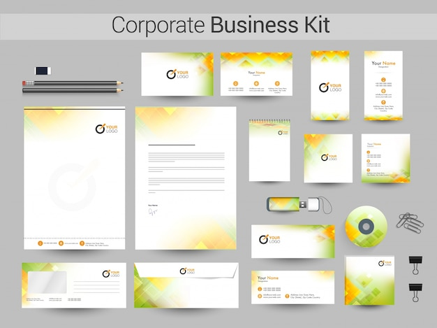 Business kit with green and yellow abstract design.