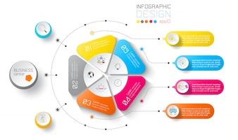 Бизнес этикетки инфографики на круги и вертикальная черта.