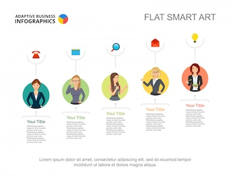 Business ladies in company slide template. Chart. Creative concept for infographic