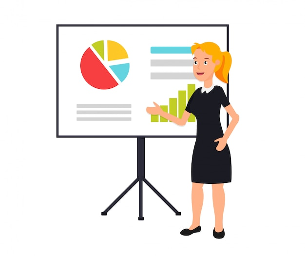 The business lady giving a presentation with infographics