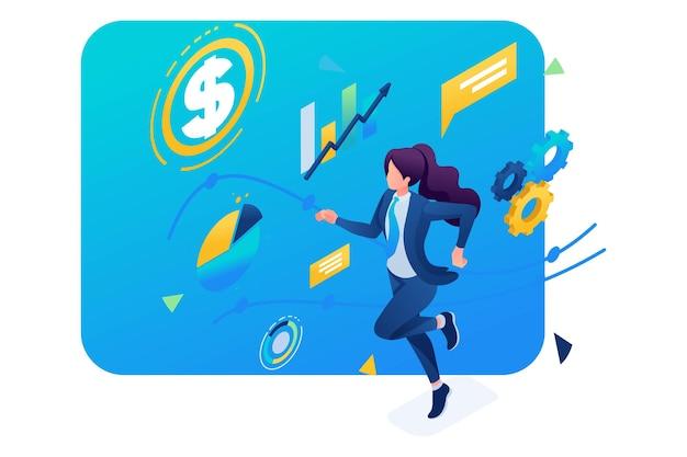 비즈니스 여성은 성공을 위해 최선을 다하고 계획된 일정에 따라 실행됩니다. 3d 아이소메트릭. 웹 디자인에 대한 개념입니다.