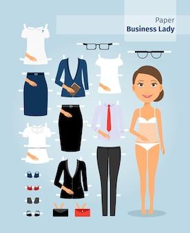 Бумажная кукла бизнес-леди. милая девушка в офисной одежде. установите для куклы деловую одежду на крой. векторная иллюстрация