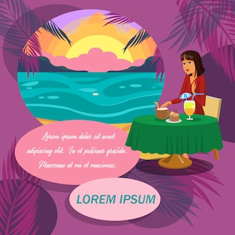 Business lady on vacation banner with text space.