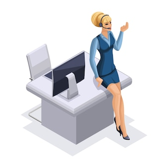 Business lady with gadgets, computer, headset for call center, receiving orders online,  illustration