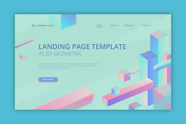 Business landing page in 3d geometric
