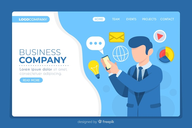 Business landing page for company