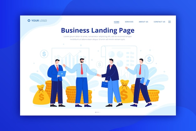 Business landing page concept for template