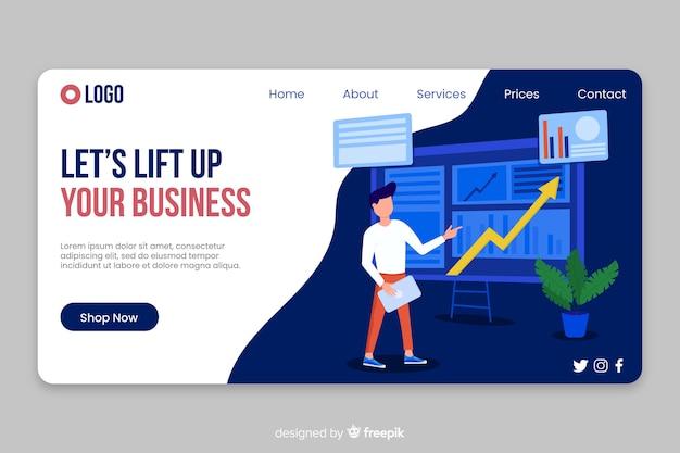 Business landing page finances